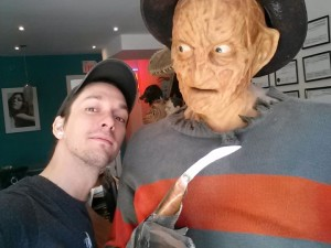 Blair and his idol Freddy at zombie head casting day