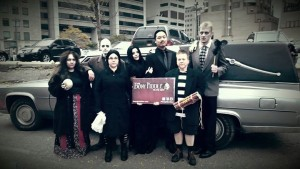 Bony Fiddle krewe as the Addams Family just prior to the start of the Toronto Zombie Walk and Halloween Parade